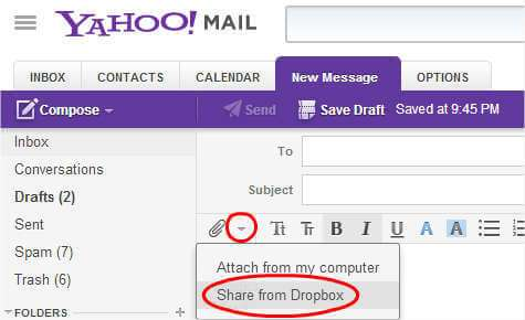 Add attachment via dropbox on yahoo mail