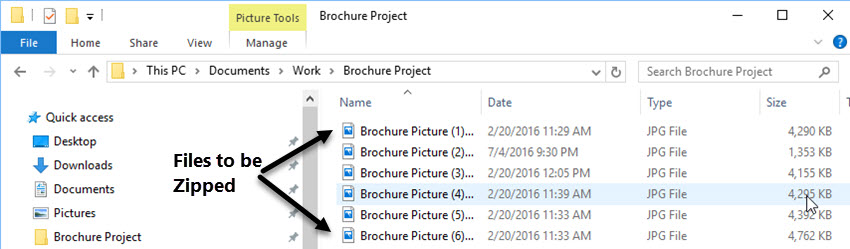 save all files to be compressed into a folder